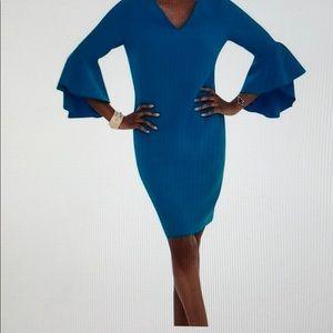 Deep Turquoise solid drama-sleeve dress